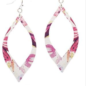 NEW MARQUIS FAUX LEATHER FLORAL EARRINGS